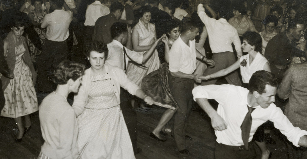 Young men and women rock and roll dancing (in Karaka War Memorial Hall), ca 1956, photographer unknown, Ref:PA1-f-192-42-2 Alexander Turnbull Library, Wellington.