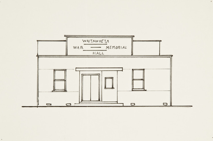 Waitawheta War Memorial Hall, Fiona Jack, ink on paper, 150 x 225mm, 2010. Partial Replica of drawing held by Archives New Zealand Wellington, artist unknown, reference IA1 3137 174/33